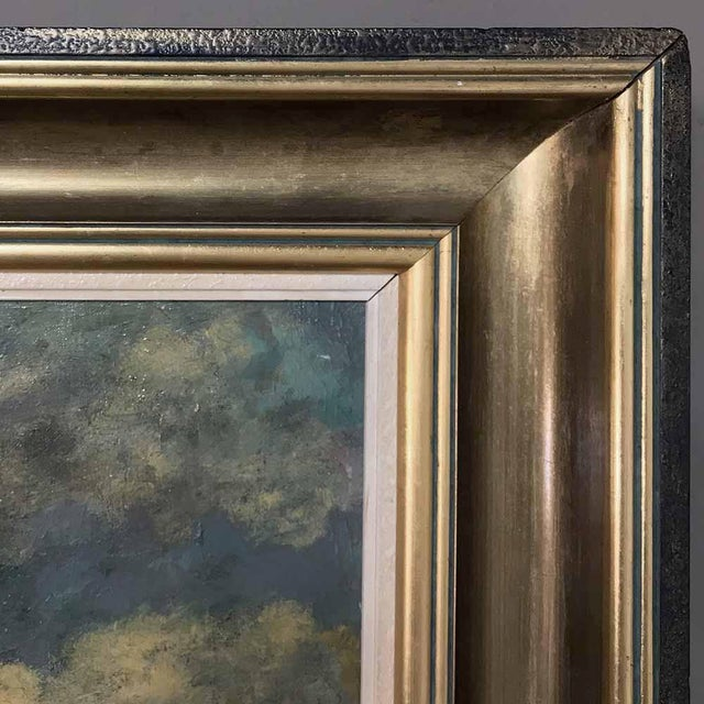 Grand Framed Oil Painting on Canvas by G. Schouten For Sale In Dallas - Image 6 of 12