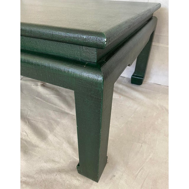 Minic Custom Woodwork Linen Grasscloth Wrapped Ming Coffee Table For Sale - Image 4 of 13