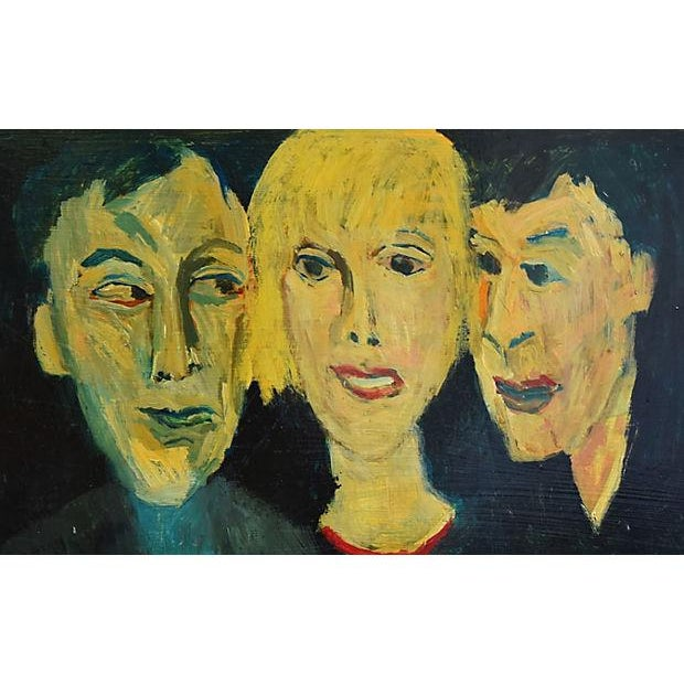 Midcentury Williard Wiener, Abstract Trio of Portraits Oil Painting - Image 2 of 6