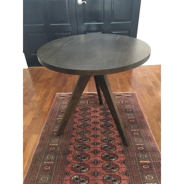West Elm Round Modern Dark Wood Tripod Table Chairish - West elm tripod side table
