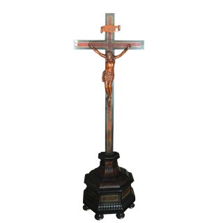 Carved Limewood & Ebony Jesus on Cross Sculpture For Sale