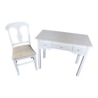 Whittier Furniture White Painted Children's Desk & Chair For Sale