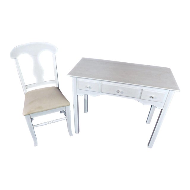 Whittier Furniture White Painted Children's Desk & Chair - Image 1 of 11