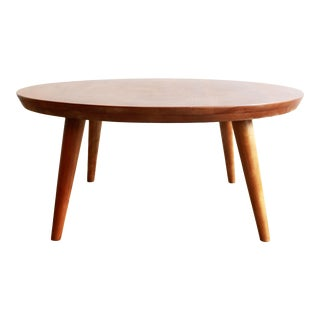 Mid Century Modern Russel Wright for Conant Ball Solid Maple Round Coffee Table For Sale