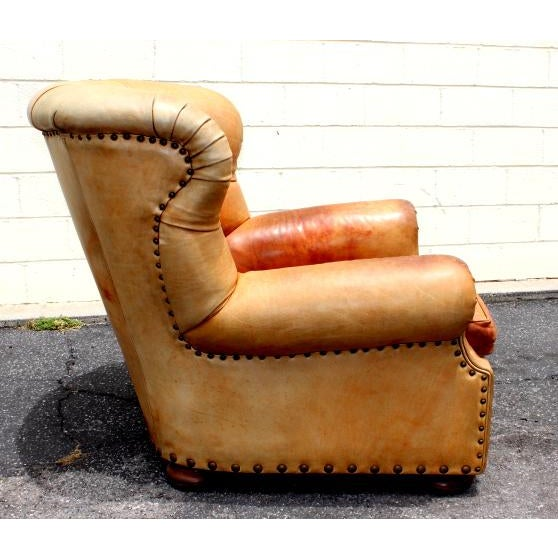 With Ralph Lauren labels on both chair and ottoman these leather pieces make quite a statement. Nice patina on these...