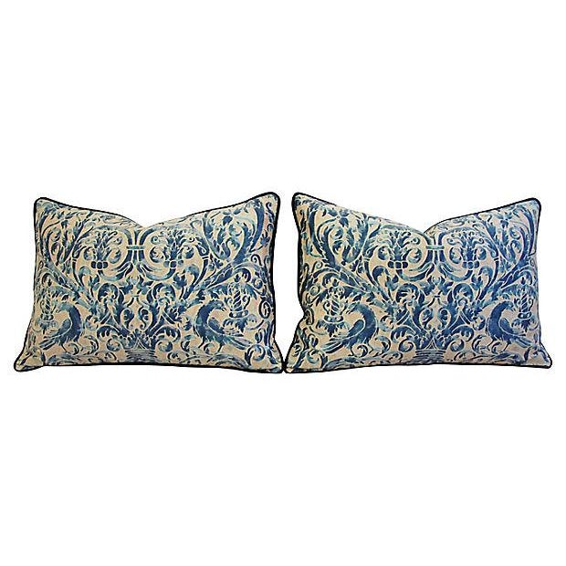 Custom Designer Italian Fortuny Uccelli Feather/Down Pillow (One Pillow) - Image 6 of 10