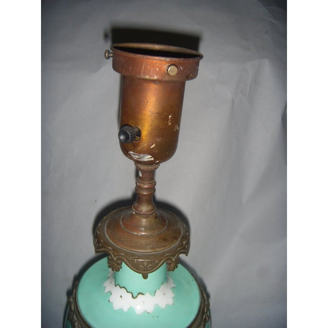 Neoclassical Teal Porcelain & Brass Lamp - Image 7 of 11