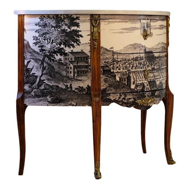 Antique Gustavian Bureua with a lacquered classic 17th century landscape scene Original antique brass fittings and grey...