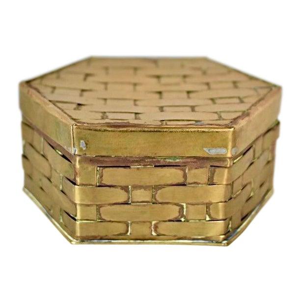 1970s Hexagon Brass Basketweave Box For Sale