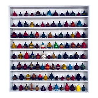 Collection of 100 Antique Spinning Tops in a Custom Shadow Box Frame For Sale