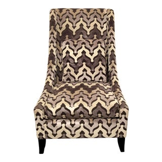 Bernhardt Zowie Chair in Grey Velvet For Sale