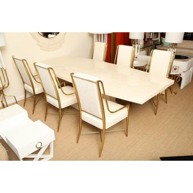 Karl Springer Style Monumental & Stately Lacquered Goat Skin Dining Table For Sale - Image 4 of 7