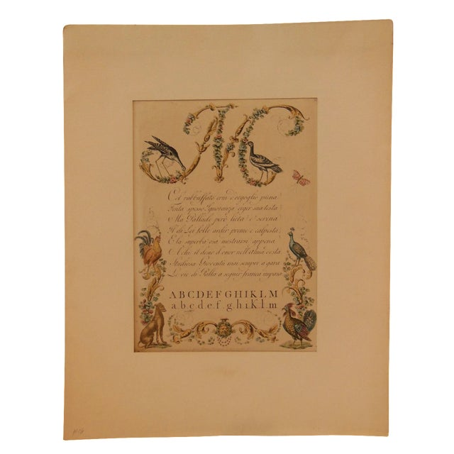 """1790s Illustrated Letter """"M"""" Calligraphy - Image 1 of 7"""