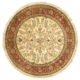 "Pasargad NY Sarouk Design Hand Knotted Round Rug - 7'1""x7'1"" For Sale"