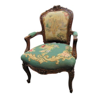 19th C Louis XV Carved Walnut Needlepoint Open Arm Chair For Sale