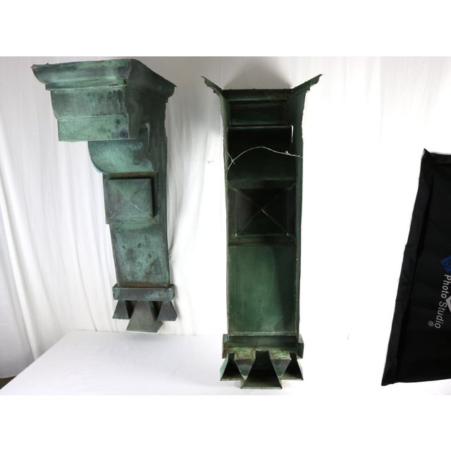 Antique Green Copper Architectural Brackets - a Pair For Sale - Image 9 of 10