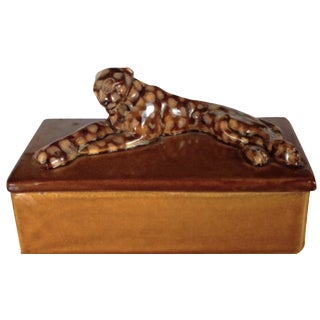 Mid-Century 1940's Pottery Leopard Box by Haeger For Sale