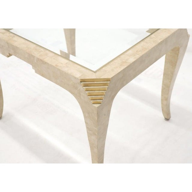 Tessellated Stone Brass Inlay Rectangular Side End Table Glass Top For Sale - Image 10 of 12