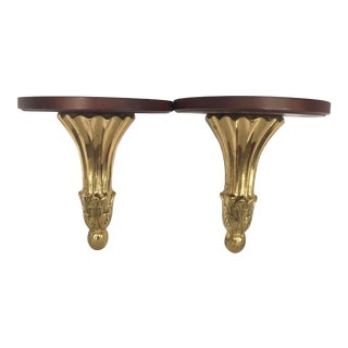 Brass & Wood Wall Shelves, a Pair For Sale