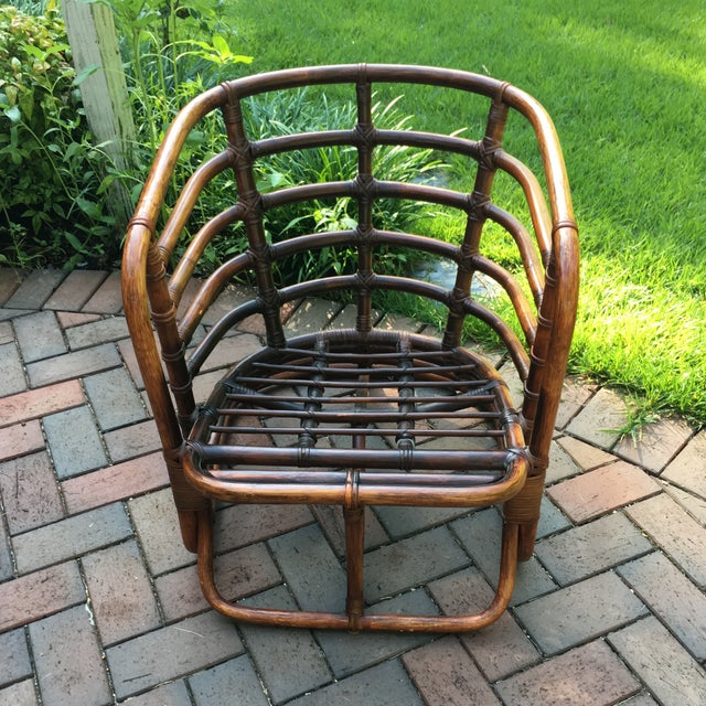 1970s Boho Chic Brown Jordan Rattan Arm Chair For Sale - Image 6 of 10