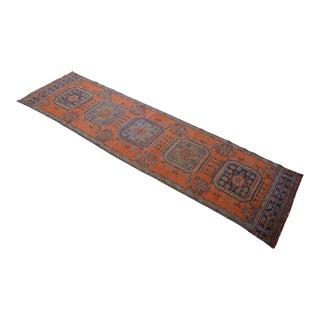 Distressed Oushak Runner Rug Hallway Decor - 3'1″ X 11'5″ For Sale