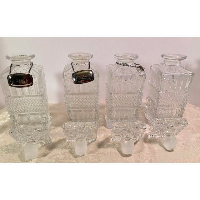 Mid-Century Modern Crystal Decanters With Hanging Tags - Set of 4 For Sale In Dallas - Image 6 of 11