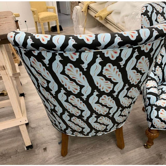 Modern Upholstered Peacock Print Chair For Sale - Image 3 of 8
