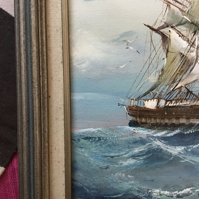 Mid 20th Century Vintage Detailed Clipper Ship Original Oil Painting For Sale In Los Angeles - Image 6 of 7