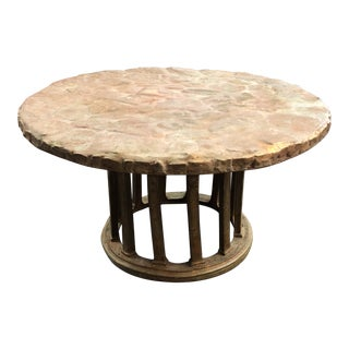 Signed Faux Cobblestone Coffee Table For Sale