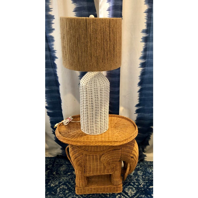 Vintage Wicker Rattan Hollywood Regency Table Lamp With Jute Shade For Sale - Image 4 of 4