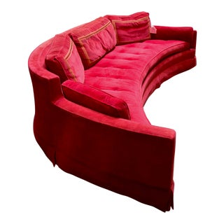 Harvey Probber Cherry Red Crescent Sofa For Sale