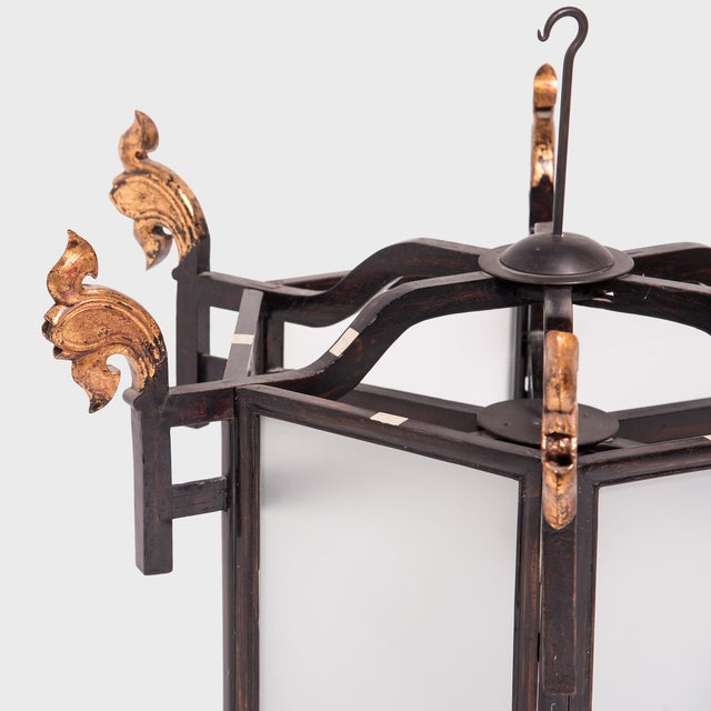 Mid 19th Century 19th Century Chinese Lantern With Gilt Lotus Finials For Sale - Image 5 of 7