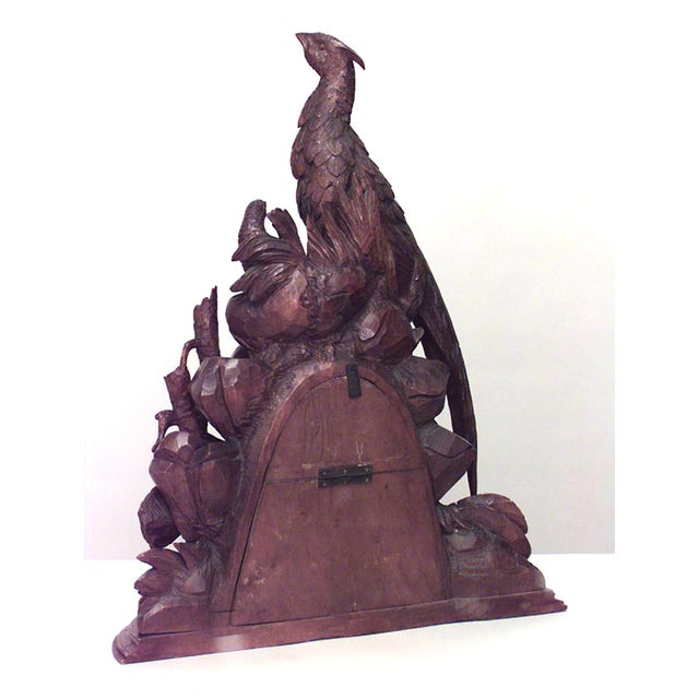 Mid 19th Century 19th Century Continental Rustic Black Forest Walnut Avian Themed Mantel Clock For Sale - Image 5 of 6