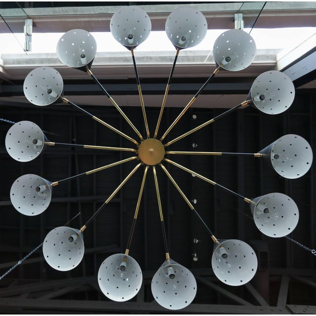 Midcentury Style Brass Chandelier With Black Perforated Shades For Sale - Image 4 of 9
