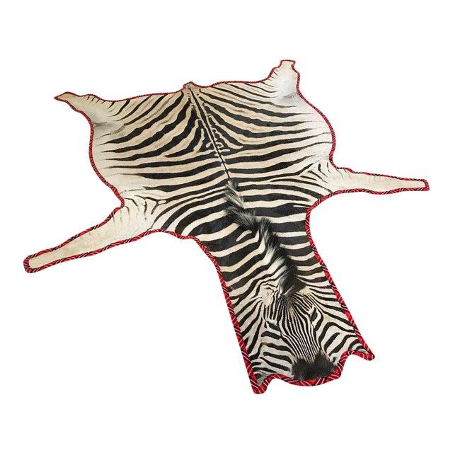 Maasai Warrior Blanket Trimmed Zebra Hide Rug- 6′6″ × 8′6″ For Sale