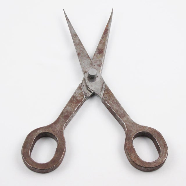 Folk Art Giant Metal Scissors Industrial Store Display Sign For Sale - Image 4 of 6