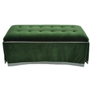 Century Emerald Velvet Tufted Bench