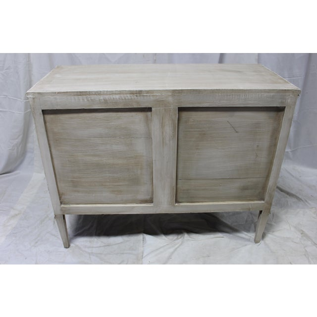 Lovely and elegant 20th Century Swedish dresser imported from France. Carved out of solid Oak wood, Dental molding above...