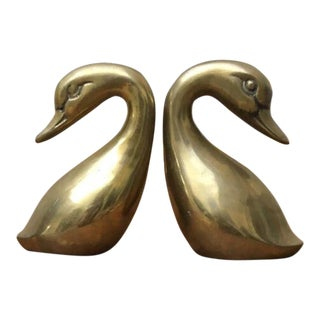 1960s Vintage Brass Swans - A Pair For Sale