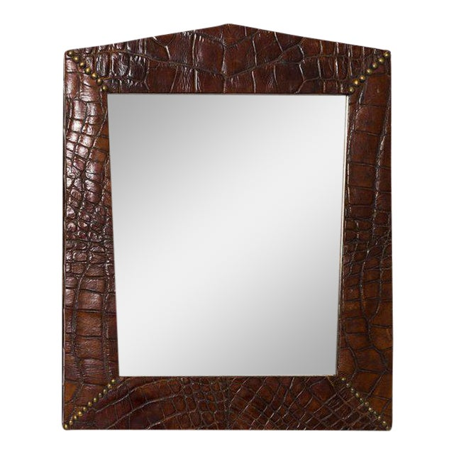 Alligator Skin Frame With Brass Stud Design in Corners With Mirror For Sale