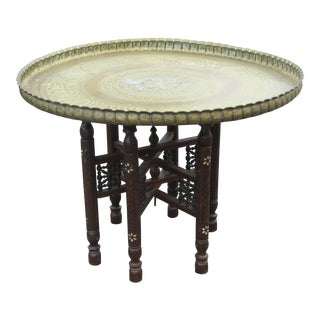 Vintage Moroccan Brass Topped Coffee Table