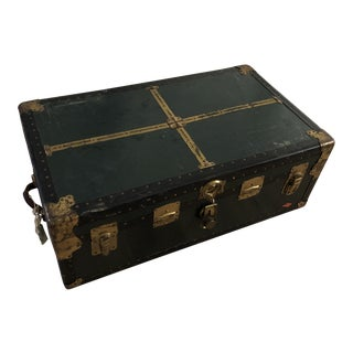 1920's Green Steamer Travel Trunk For Sale