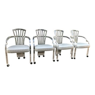 Set of 4 Hollis Jones Style Lucite Fanback Chairs by Hill Manufacturing Co.
