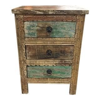 Rustic 3 Drawer Reclaimed Teakwood Bedside Chest With Card Front For Sale
