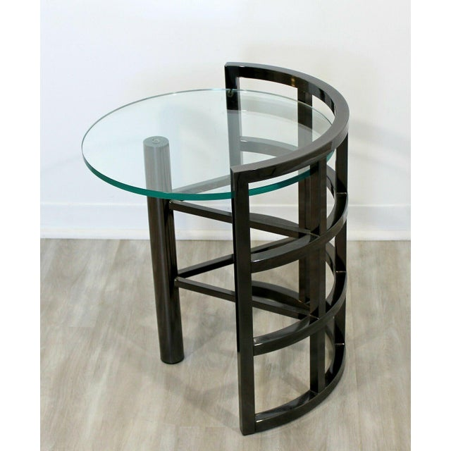 Contemporary Modern Brueton Round Gunmetal Glass Side End Table 80s Asymmetrical For Sale - Image 9 of 12