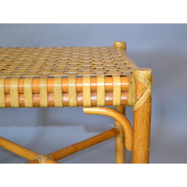 Brown McGuire Mid-Century Modern Bamboo and Hand-Woven Leather Top Side Table / Stool For Sale - Image 8 of 13