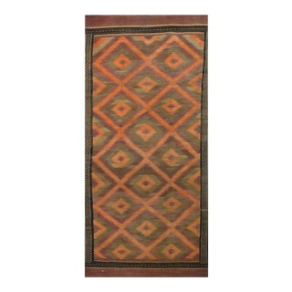 Antique Handwoven Kilim Area Rug- 4'9″ × 12' For Sale