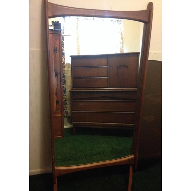 Bassett Mid Century Modern -All 3 Pieces-Triple Dresser W Mirror and Chest on Chest in Bow Tie Style - Image 6 of 9