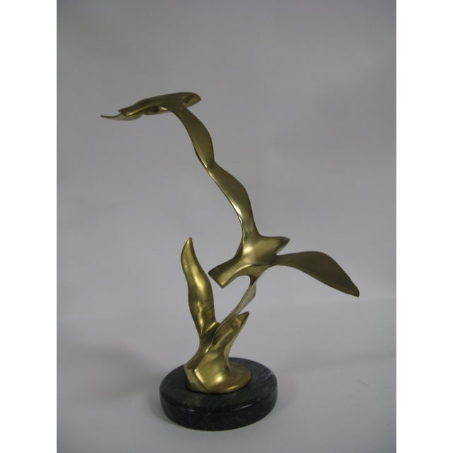 Mid-Century Modern Brass and Marble Birds in Flight Sculpture For Sale In Charleston - Image 6 of 9