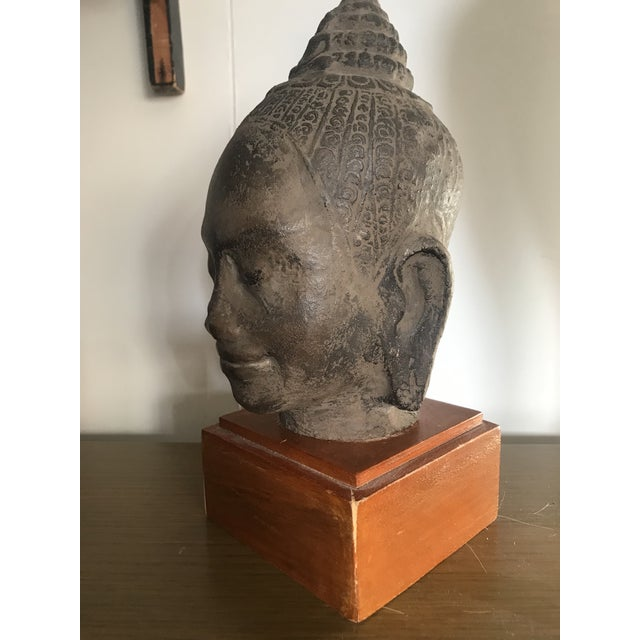Early 20th Century Antique Cambodian Head of Buddha on Wooden Base For Sale - Image 4 of 8